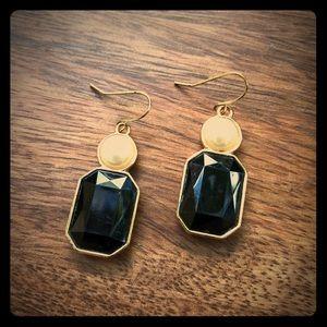 Black stone & pearl earrings *vintage* *50's*